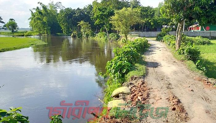 গৌরীপুরে সুরিয়া নদীতে পানি বৃদ্ধি, নদী ভাঙ্গনের আশঙ্কা