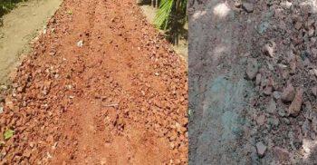 'খারাপ কোনো রিপোর্ট করিয়েন না': মাটি ও রাবিস ইট দিয়ে সড়ক নির্মাণ