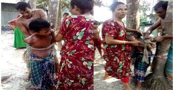 গৌরীপুরে গাছে বেঁধে শিশু নির্যাতনকারী মা ও ছেলেকে আটক করেছে পুলিশ